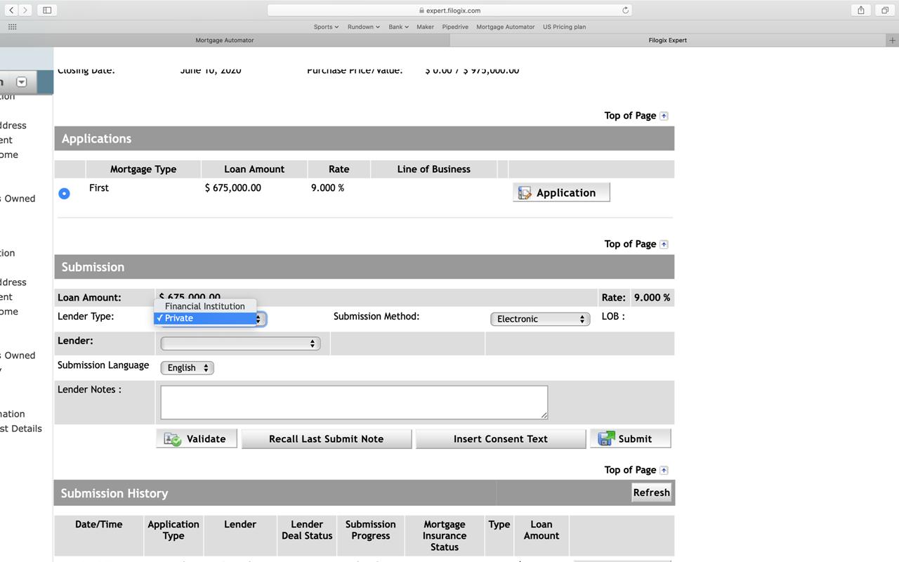 Lender Type Screenshot